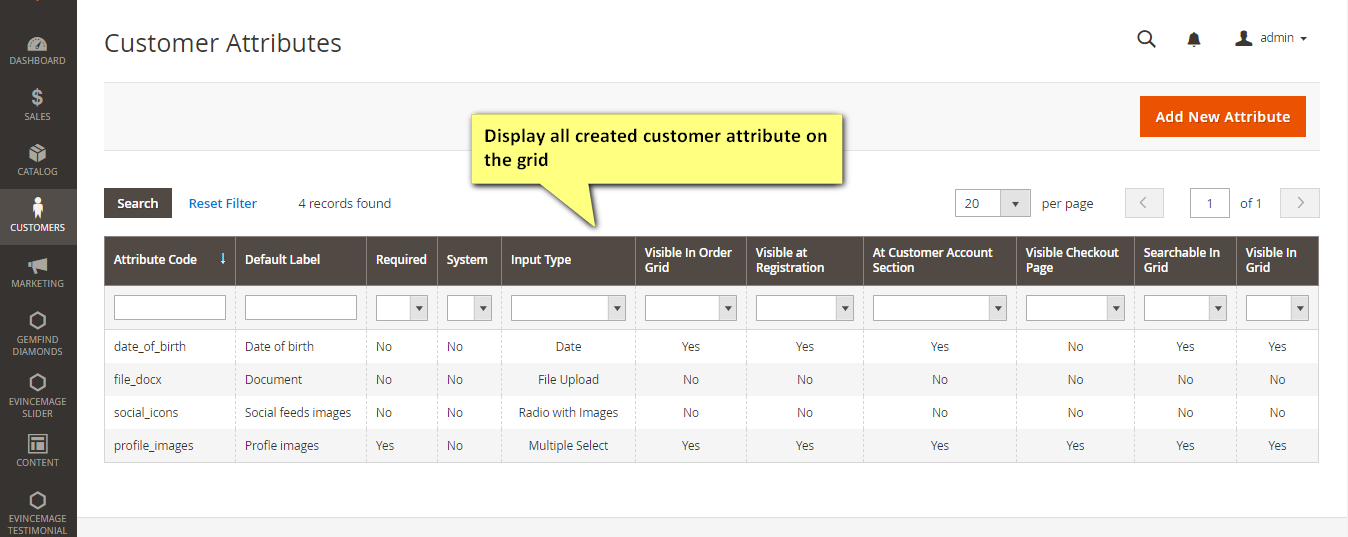 Customer attributes grid