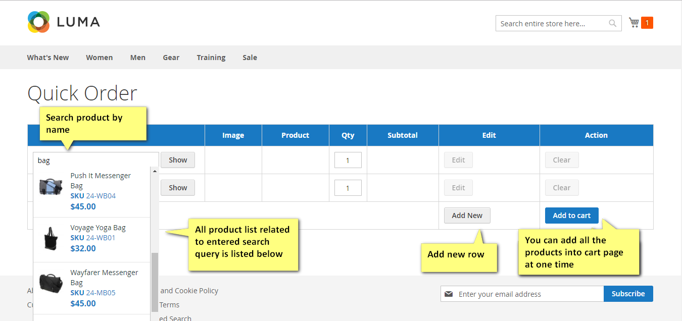 Quick order functionality in the frontend