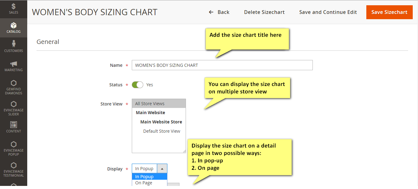 Magento 2 extension for displaying the size chart