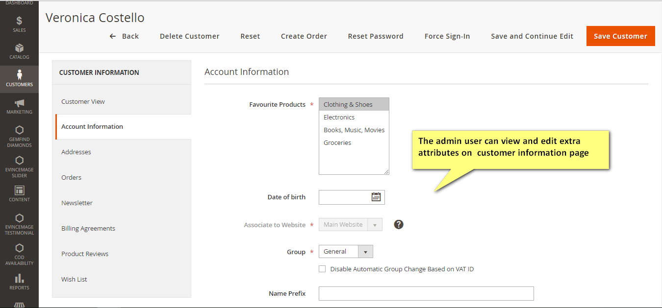 custom attribute in customer information
