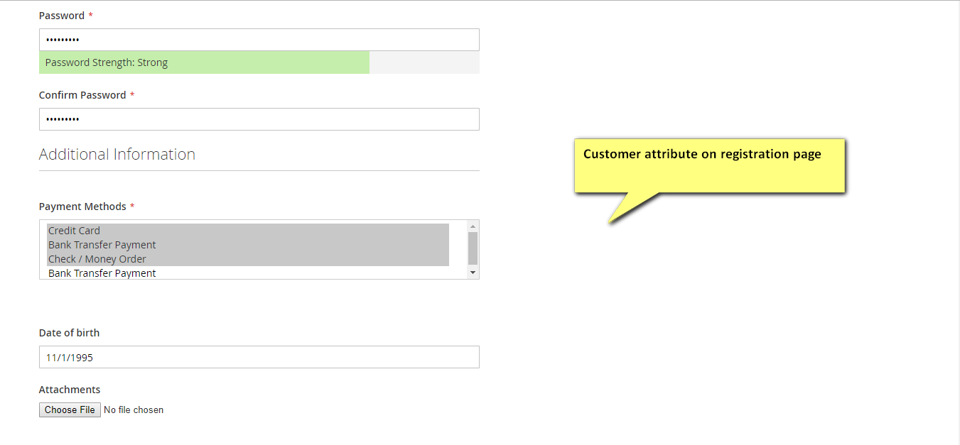 Customer attribute on registration page