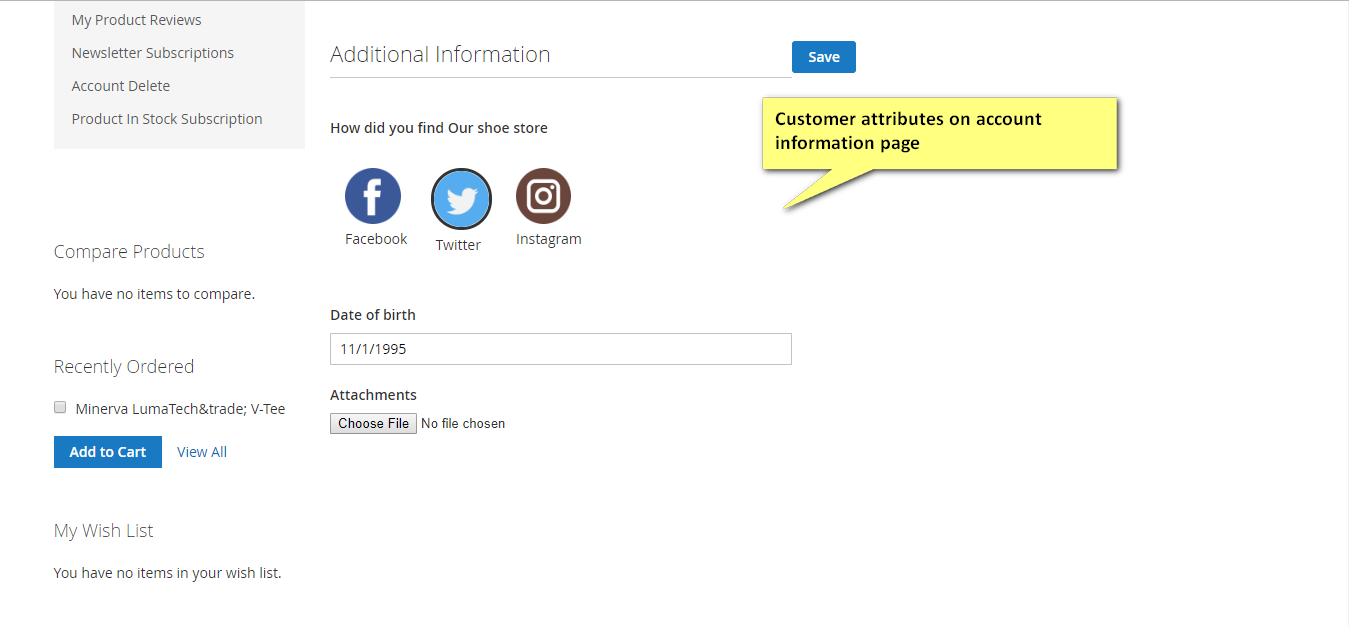 Customer attribute on account information