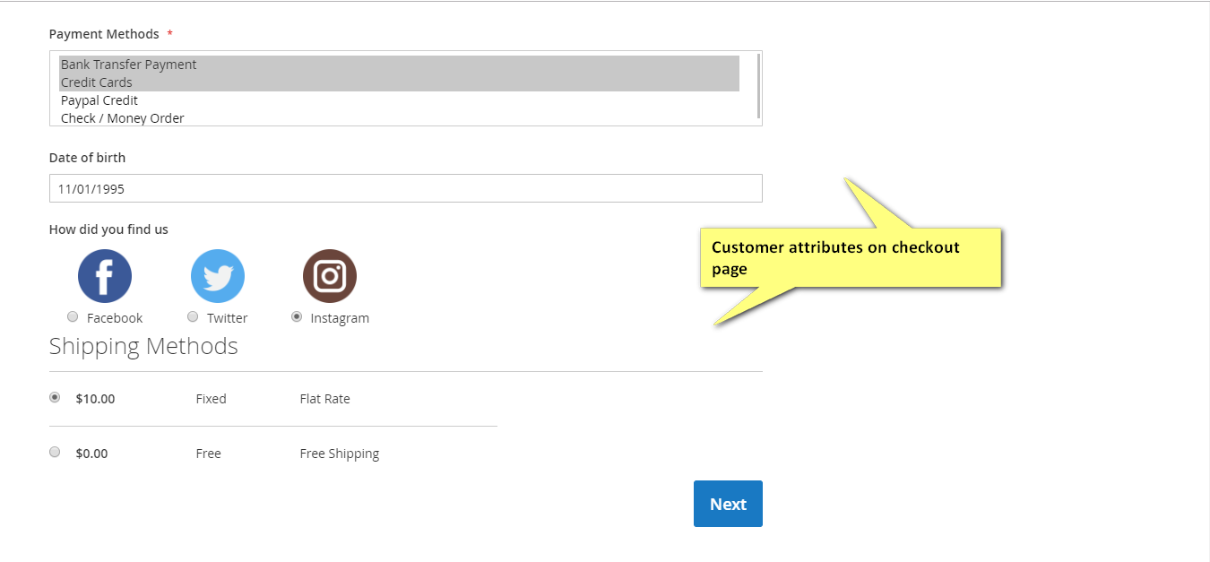 Customer attribute on checkout page