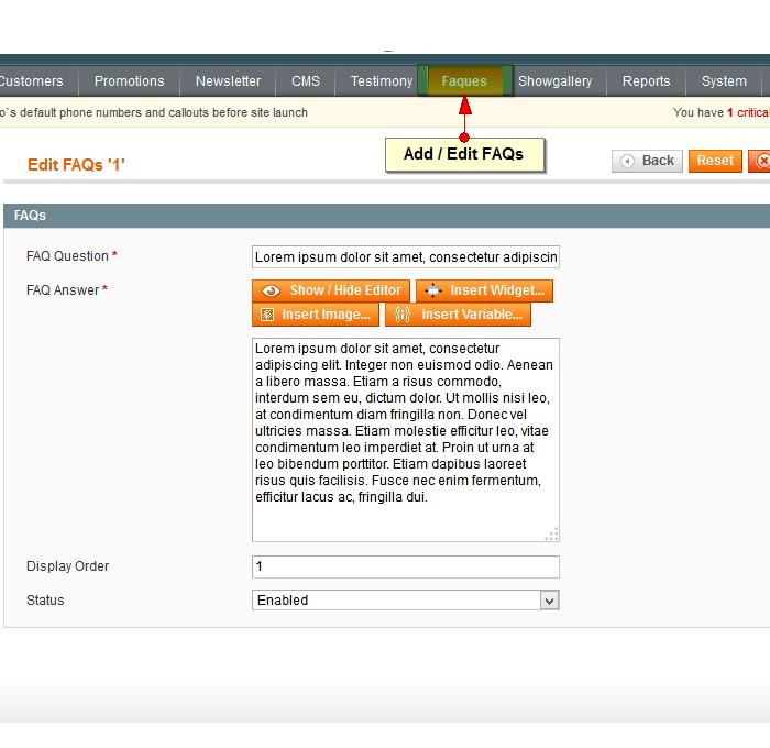 FAQs link in admin menu