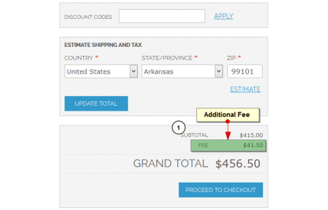 Additional fee in the order detail
