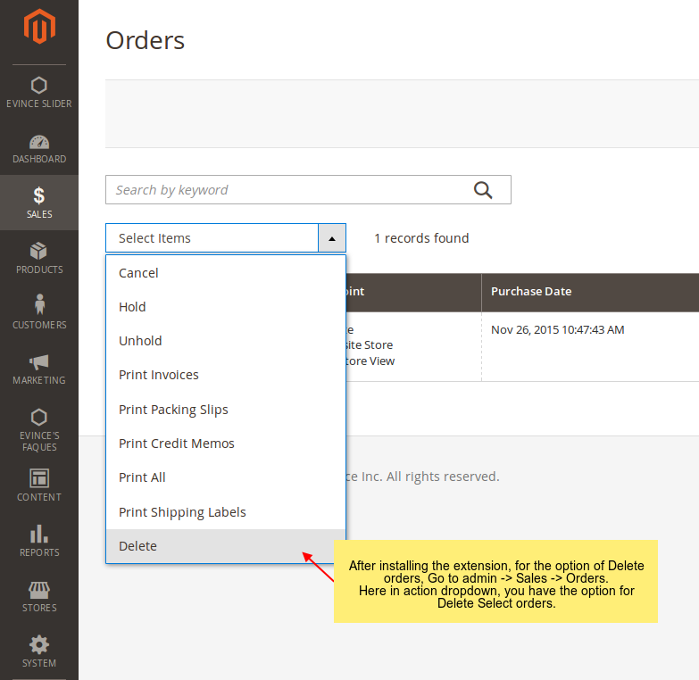 Delete orders options in admin side order actions