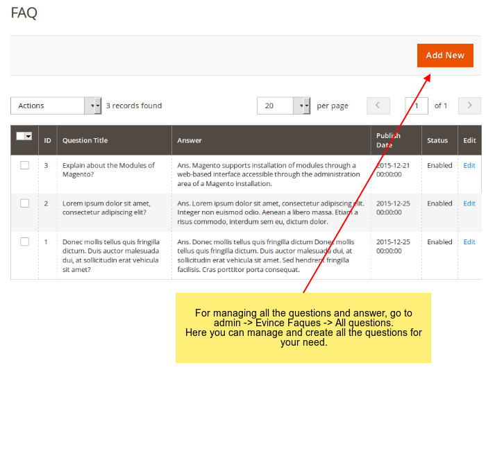 FAQs management in admin side