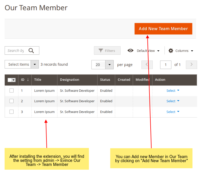 Team members management in admin side