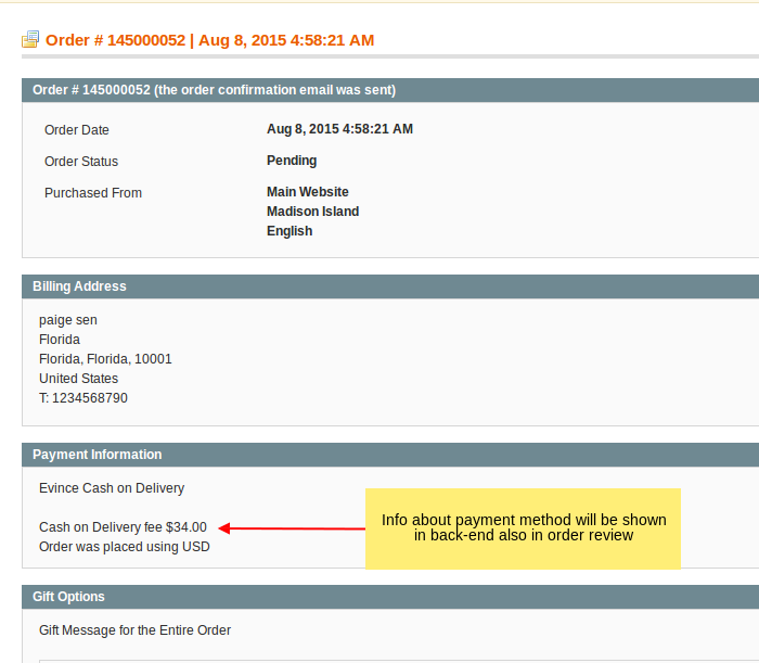 Cash on Delivery information in admin side order detail