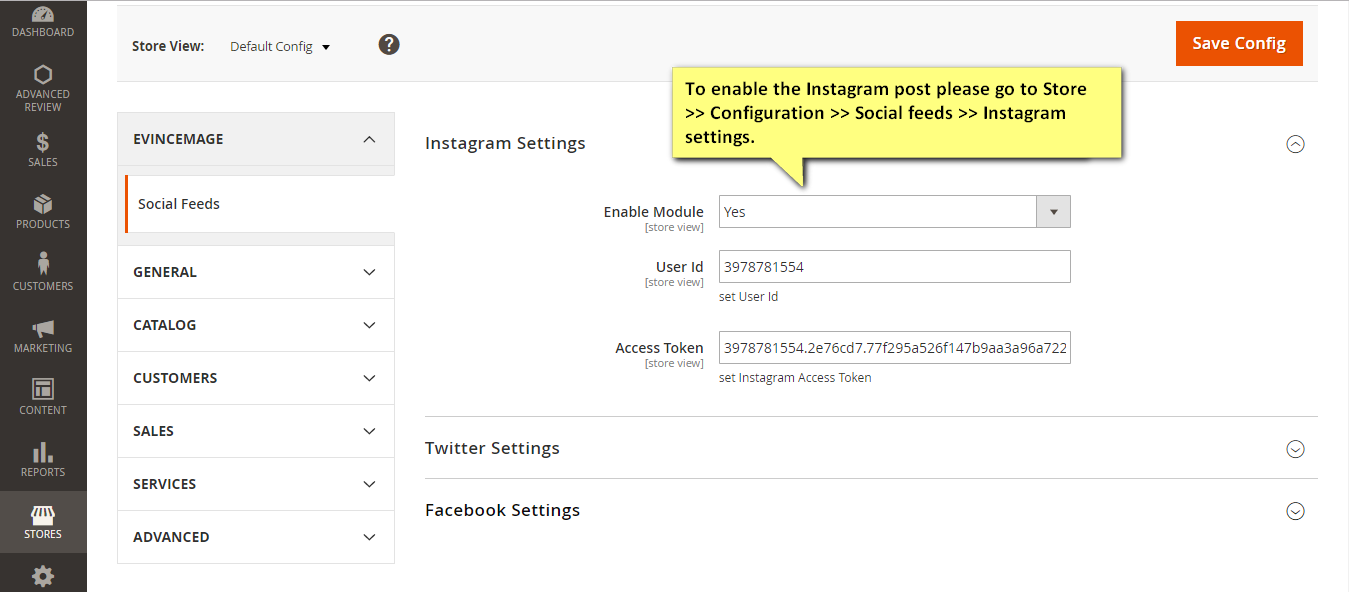 Social Feeds Instagram Configuration