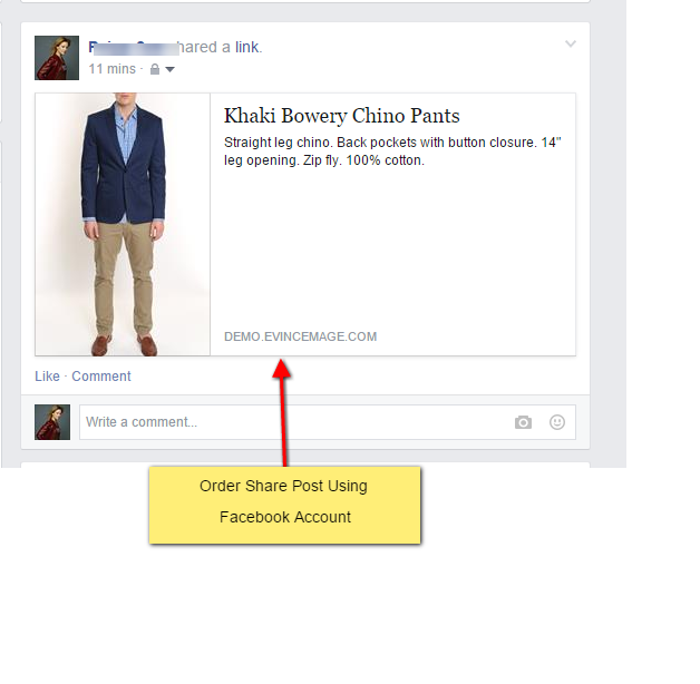 Shared order in facebook