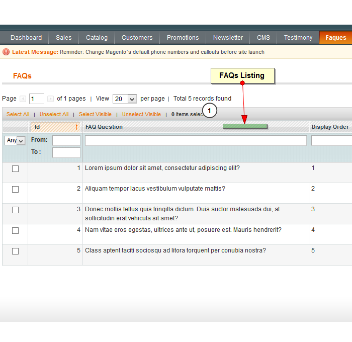 FAQs listing in admin side