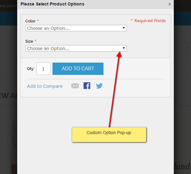 Custom option pop-up