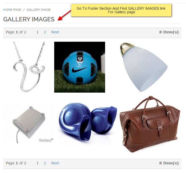 Gallery images in the front-end