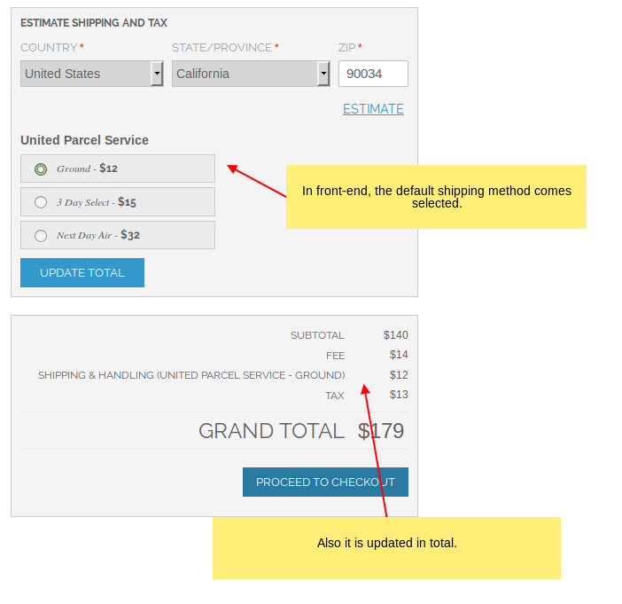 Default shipping method selected in the front-end