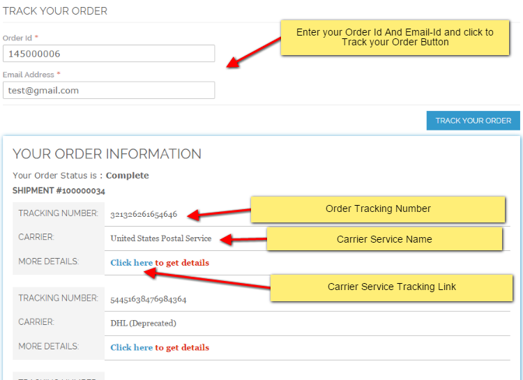 Order information by Track Your Order