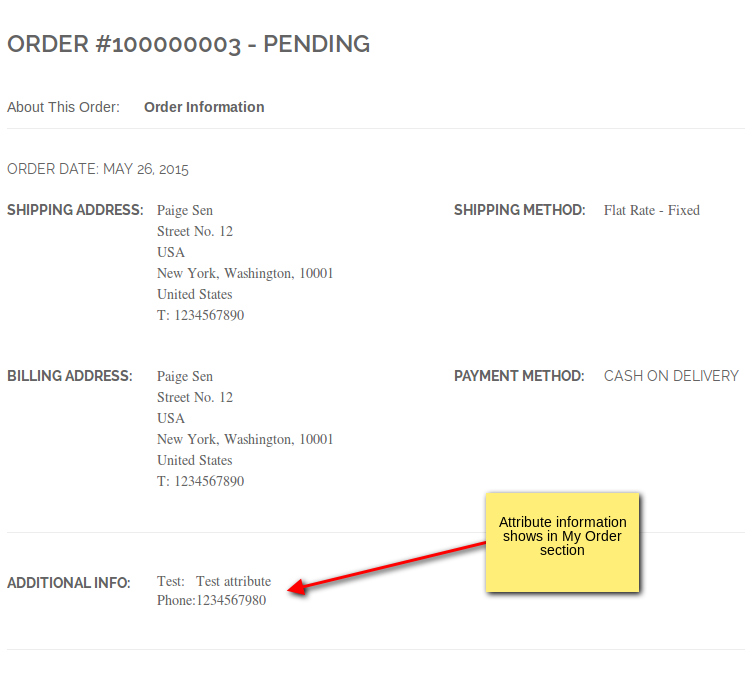 Attribute information order view
