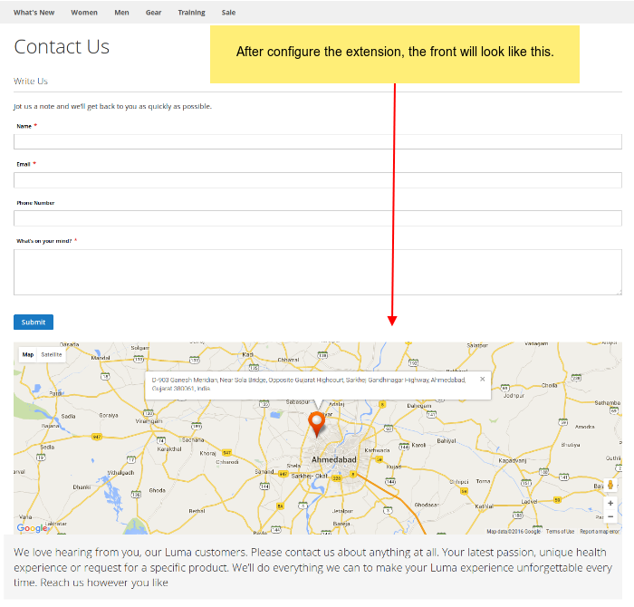 Magento 2 Contact Us Map extension