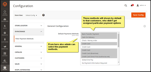 Filter Payment configuration