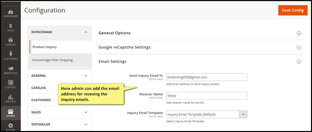 Email settings for Product Inquiry