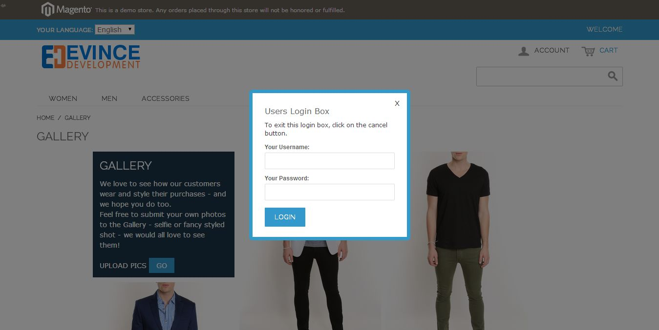 Customer login popup to submit the selfie product gallery images
