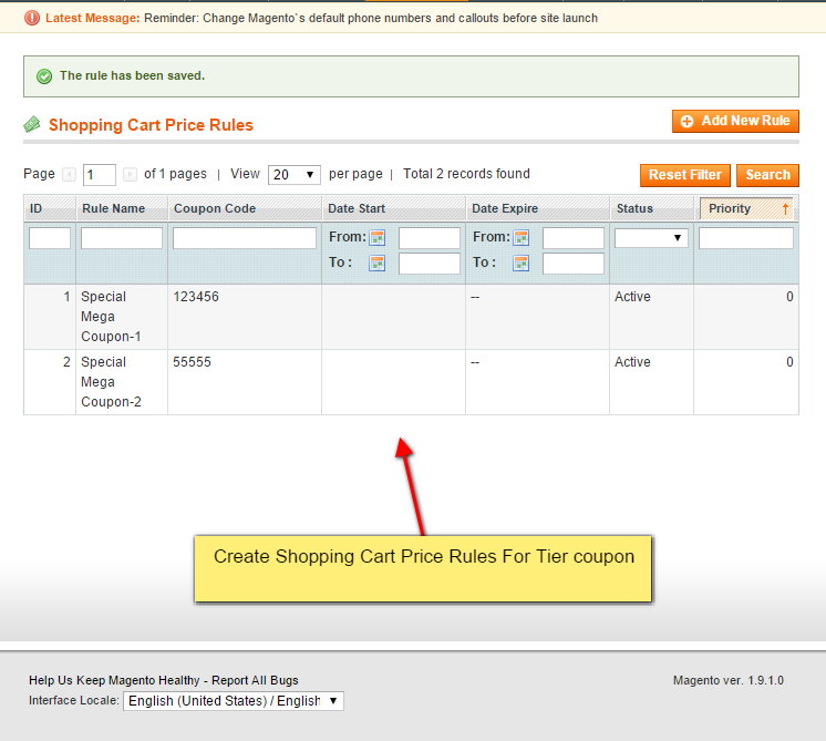Create shopping cart price rule for Tier Coupon