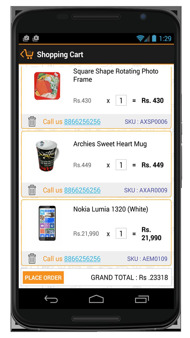Shopping Cart using Mobile API