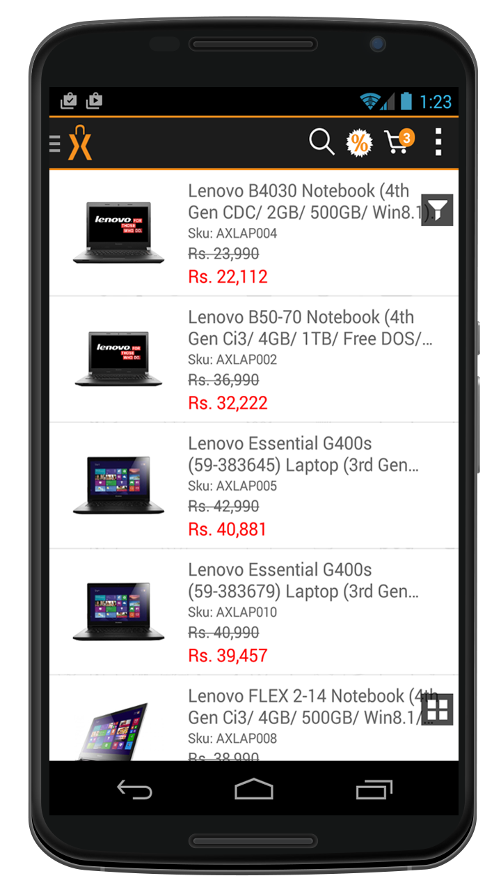Product listing using Mobile API