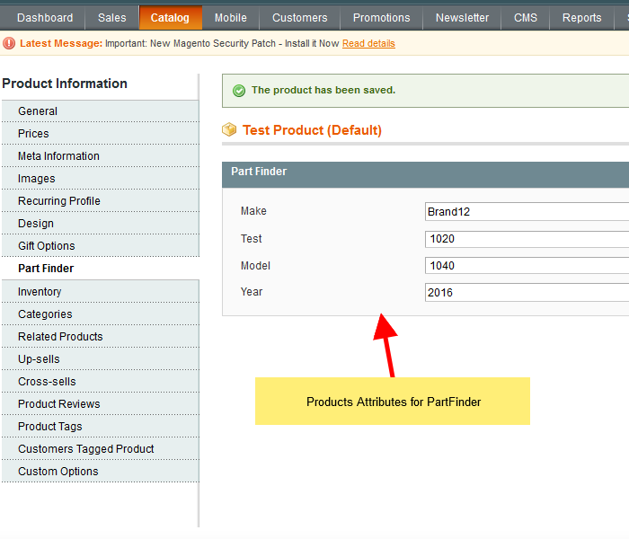 Product attributes for Part Finder