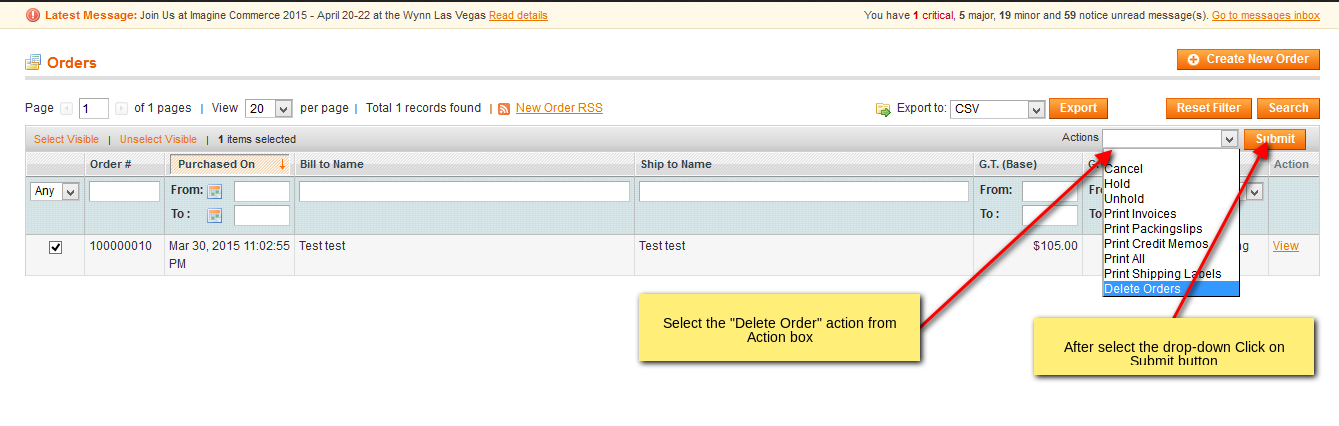 Select Delete Orders action to delete orders