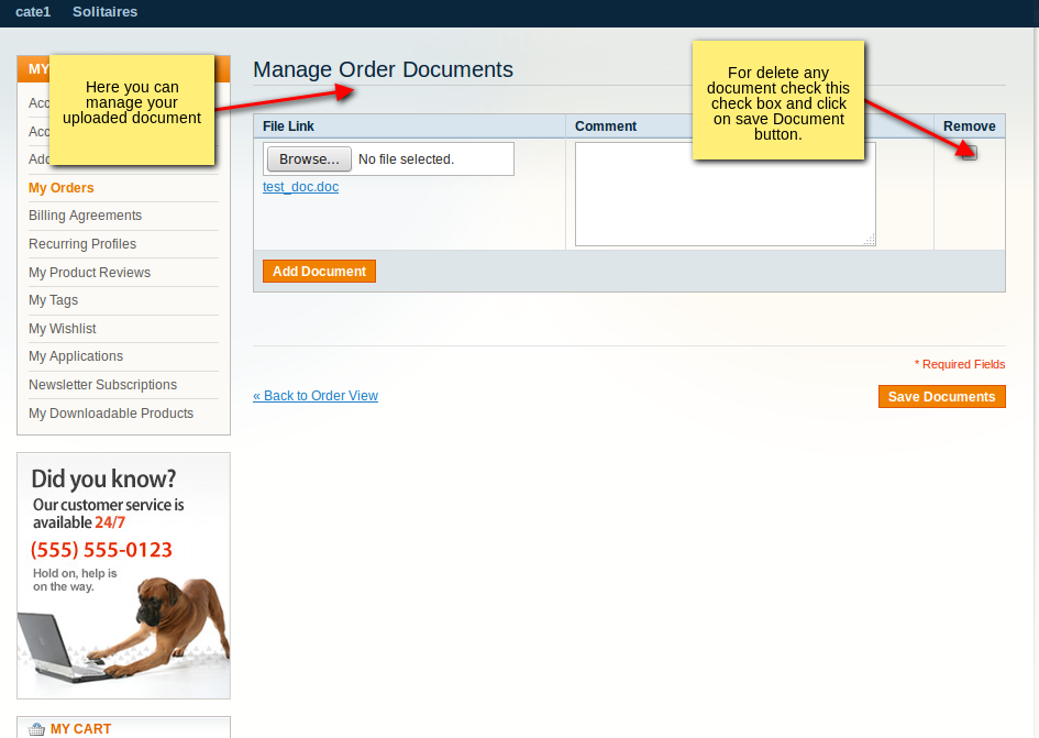 Manage order attachments from customer account