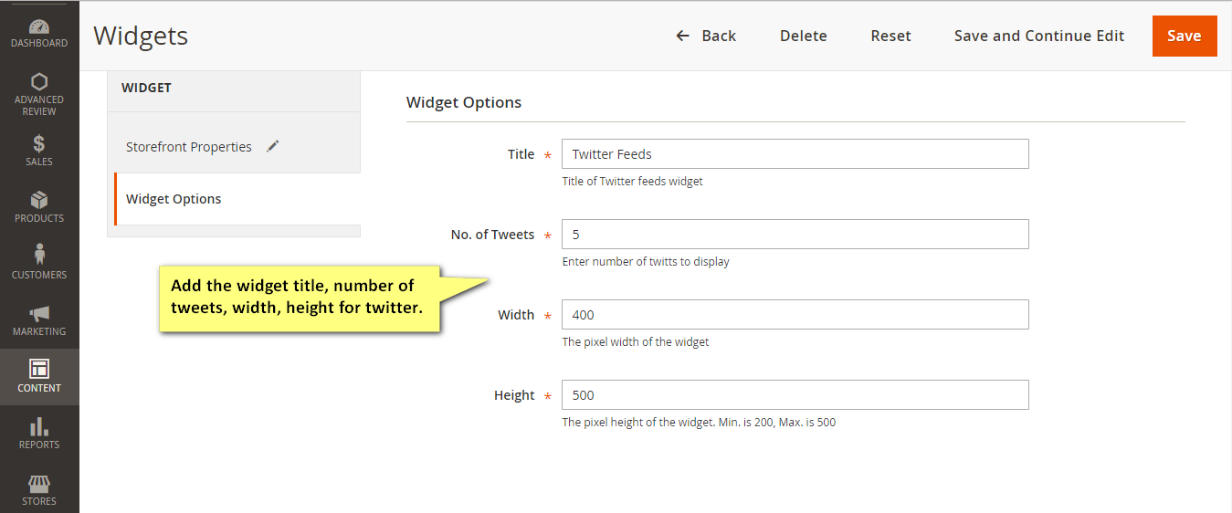 Twitter Feeds Widget Options