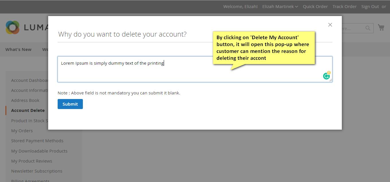 account delete magento 2 extension