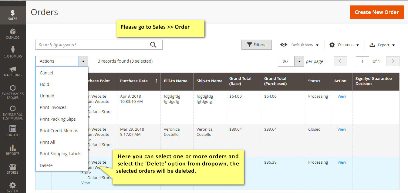delete order magento 2 extension